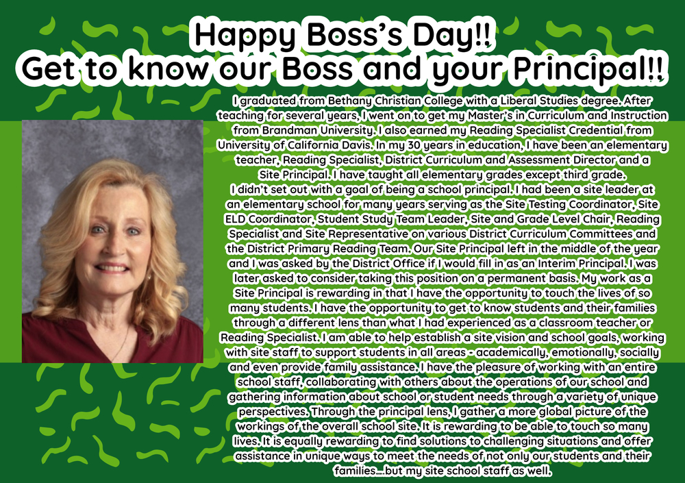 Happy Boss's Day Mrs. Ferguson!!
