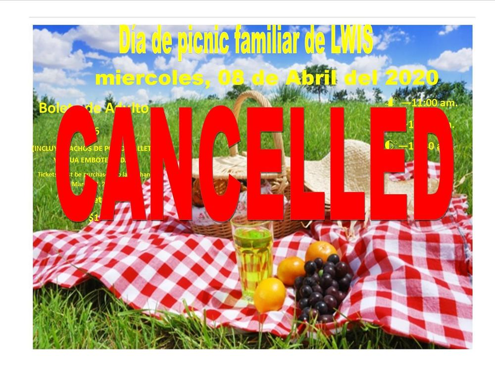 Family Picnic April 8th Cancelled