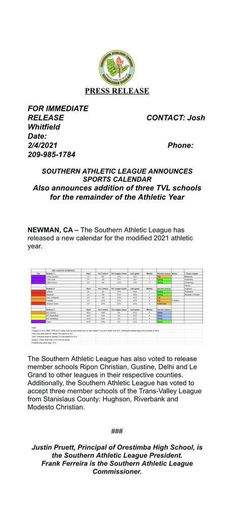 SAL PRESS RELEASE: Athletic Calendar