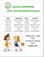 Girls Basketball Schedule
