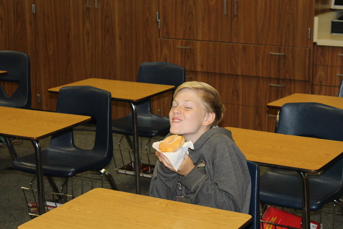 "WJHS T-HAT Crew was out for the first time today looking for a class where the students were all ""T-HAT,"" meaning T for Tigers, H for all homework completed, A for all in attendance, T for no tardies.  This morning Mr. Kirkpatrick's 7th grade English class was all ""T-HAT"" and received donuts for their positivity, professionalism and productivity!  Congratulations!"