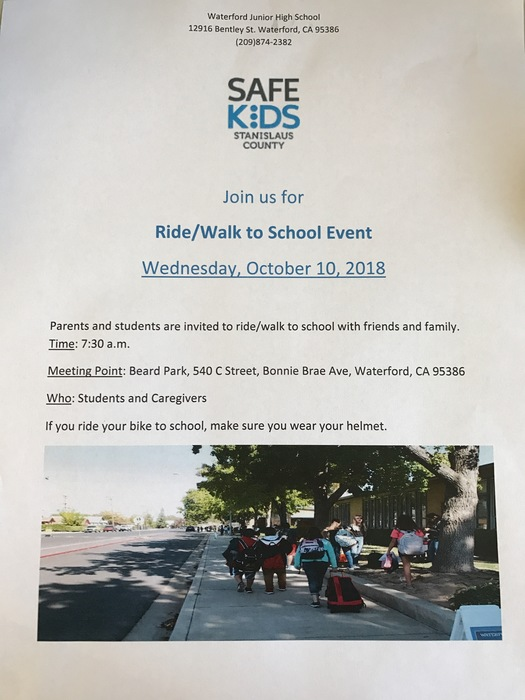Walk/Ride to School Event Tomorrow 10/10