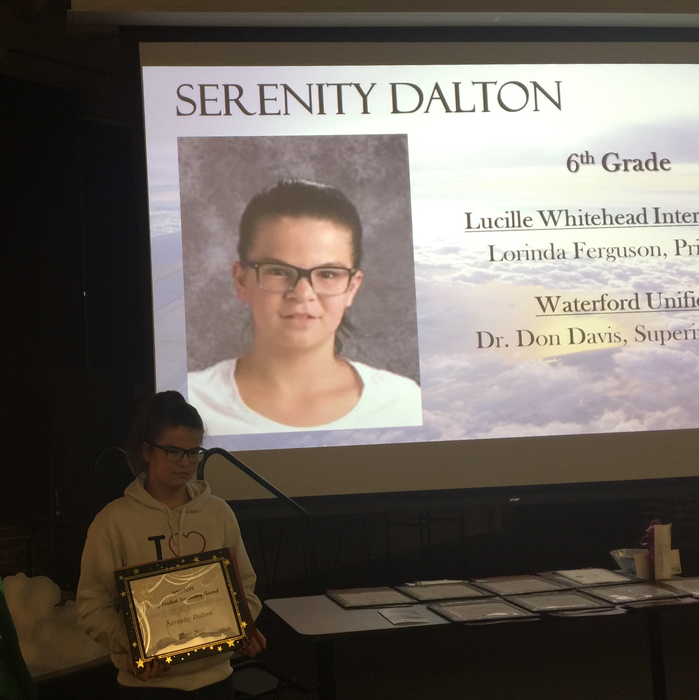 Serenity Dalton, 6th grader receives award