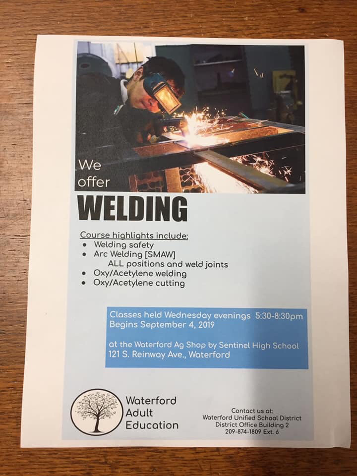 Adult welding flyer