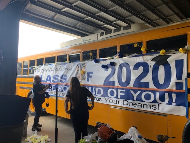 Decorating the Graduation Bus!