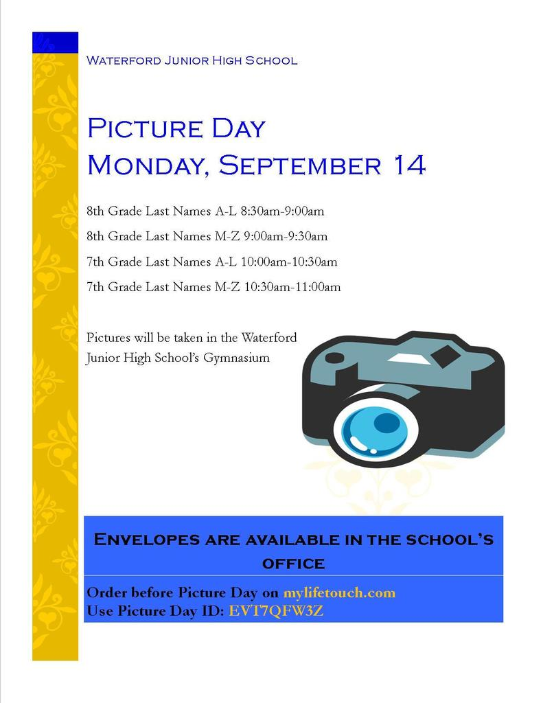 Picture Day - Monday, September 14, 2020